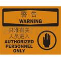 中英文警告标识(警告:只准有关人员进入)(含图标)